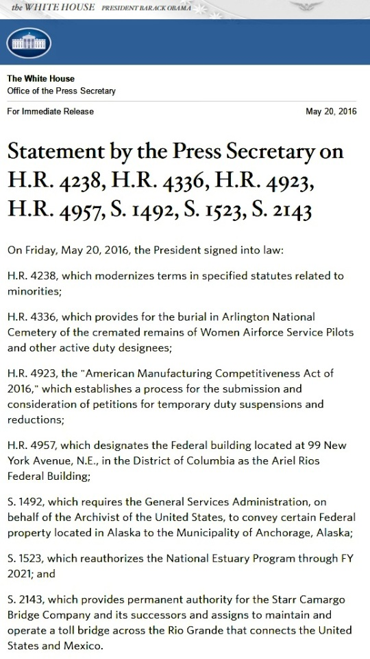 President Barack Obama signed HR 4238