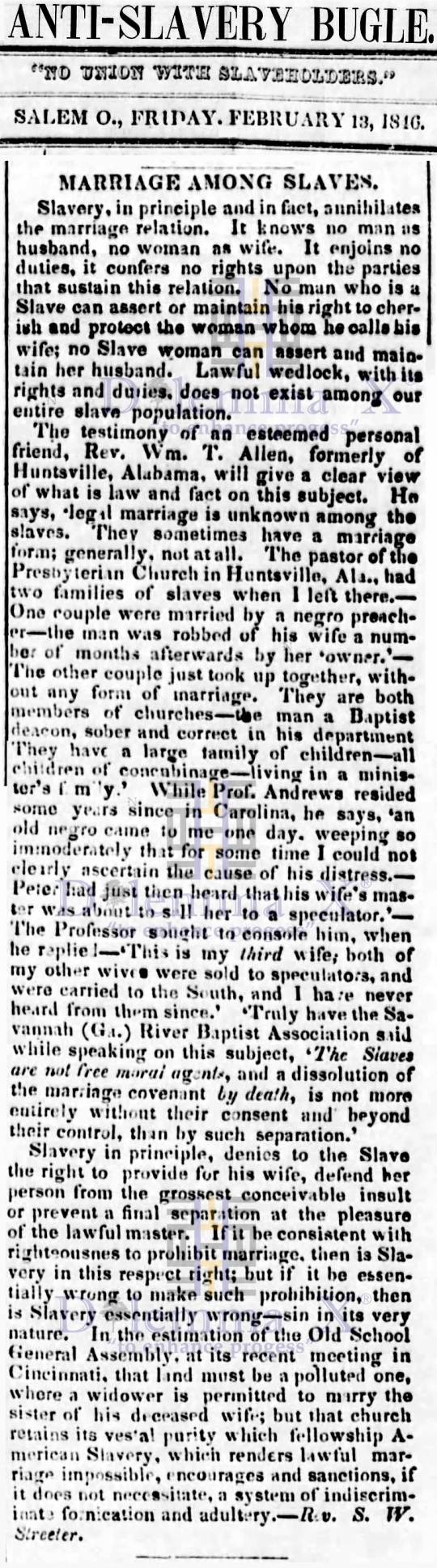Marriages- Enslaved Africans 1846
