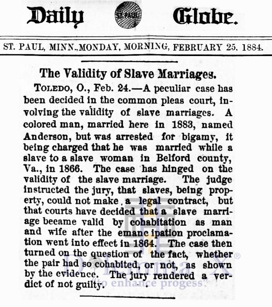 Marriages- Enslaved Africans 1884