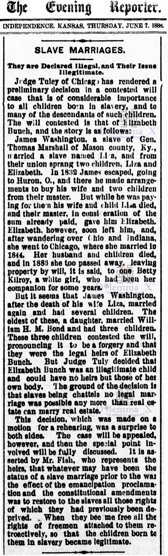 Marriages- Enslaved Africans 1888