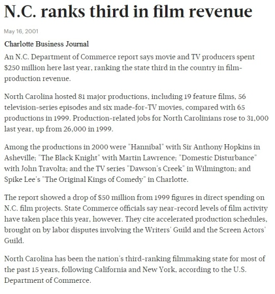 NC ranks third in film 2001
