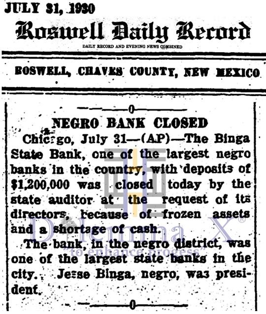 Black Banks -July 1930