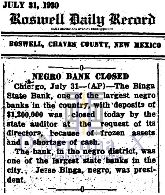 Black Banks -July 1930