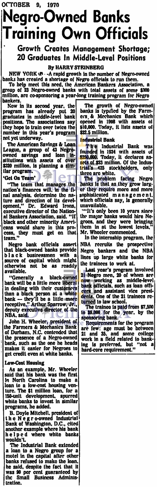 Black Banks -Oct 1970