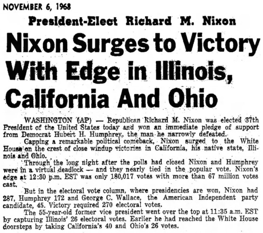 Election Results Nov 6-1968