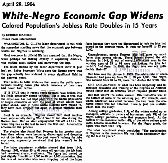1964 White Black Economic Gap