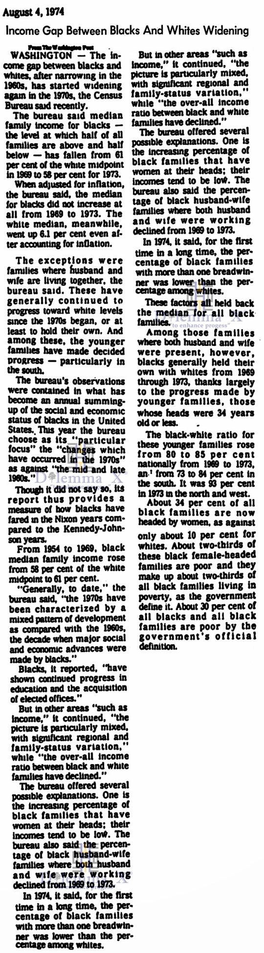 1974 White Black Economic Gap
