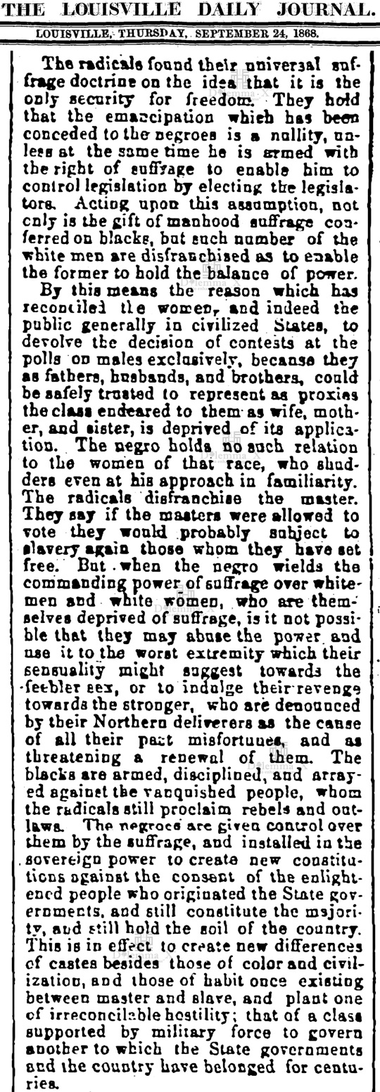 1868-september White Women's Suffrage Racism History