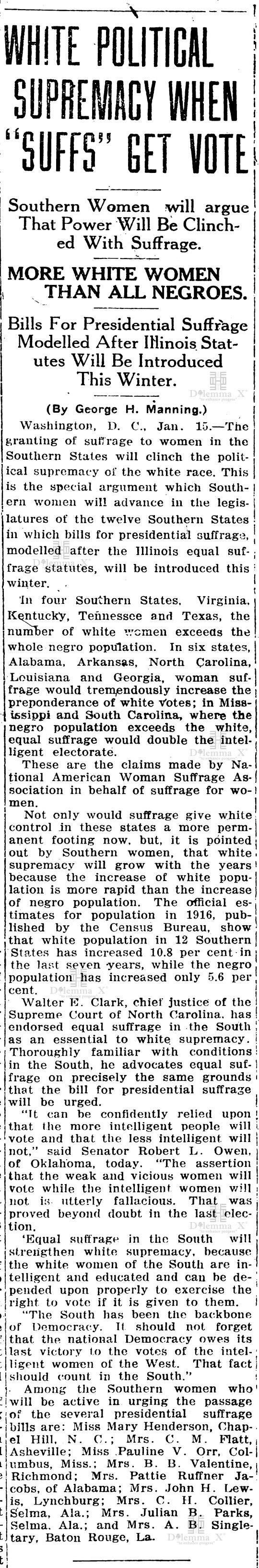 1917-january White Women's Suffrage Racism History