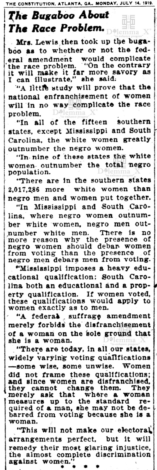 1919-july White Women's Suffrage Racism History