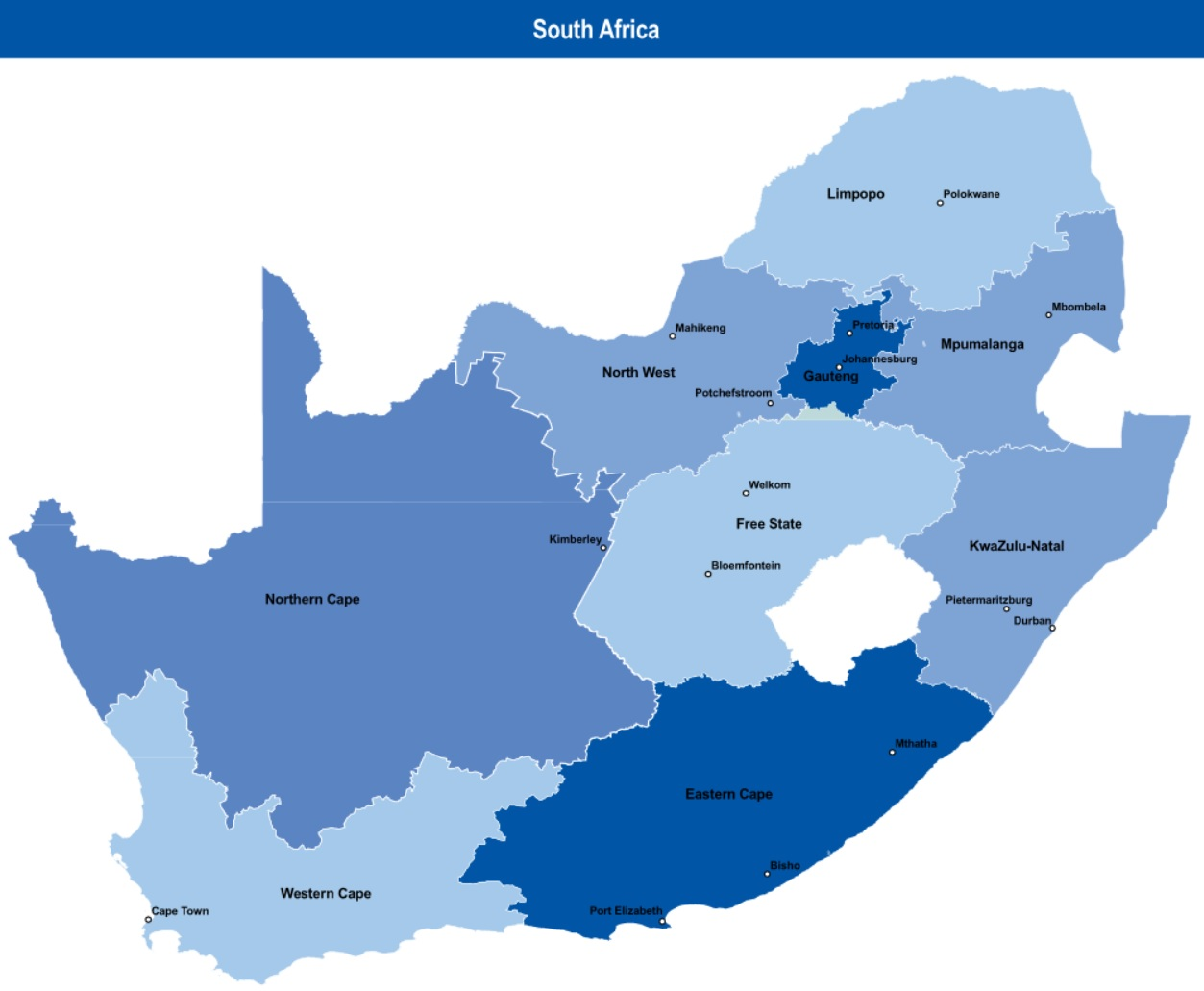 south africa map South Africa White population