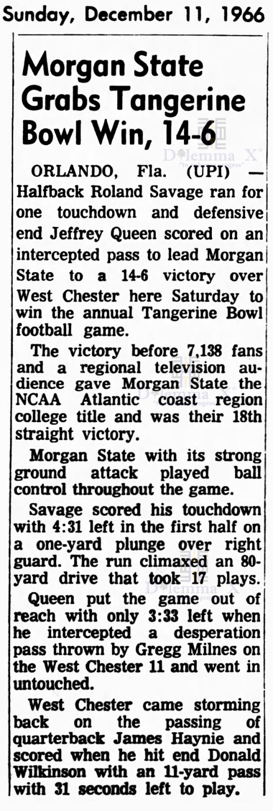 tangerine-bowl-1966 Morgan State Wins