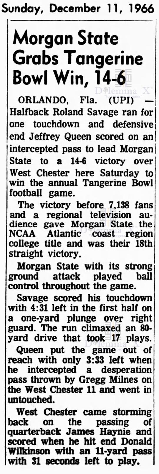 tangerine-bowl-1966 Morgan State Wins