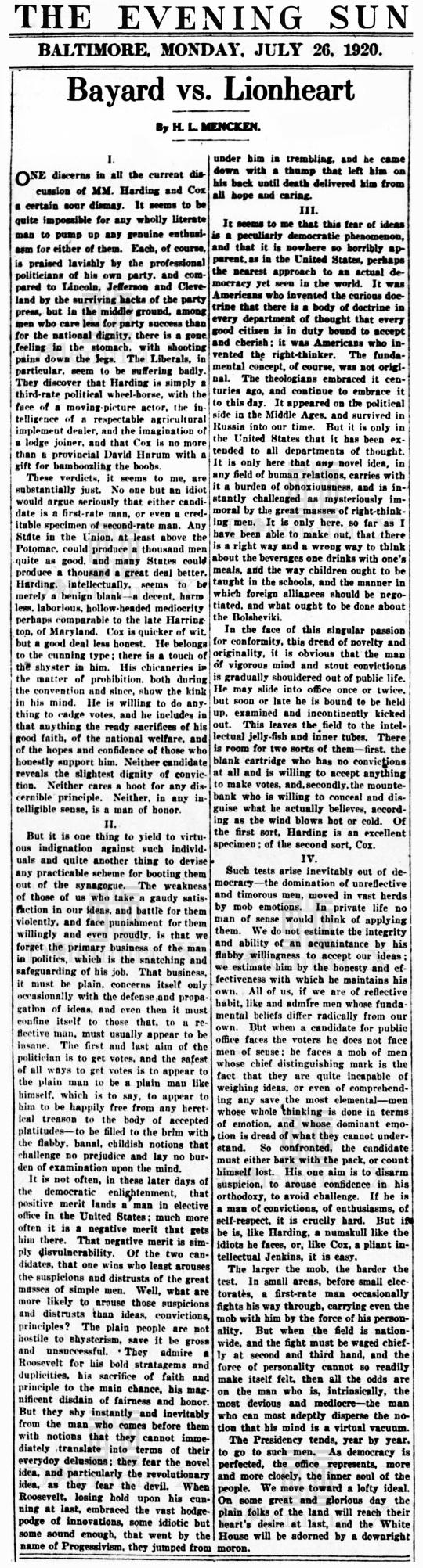 H L Mencken The President Bayard vs Lionheart July 26 1920